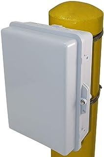"Altelix Pole Mount NEMA Enclosure 14x11x5 (12"" x 8"" x 4"" Inside Space) Polycarbonate + ABS Weatherproof Outdoor NEMA Box"