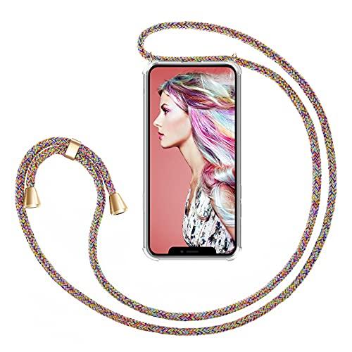 """ZhinkArts Handykette kompatibel mit Apple iPhone 11-6,1"""" Display - Smartphone Necklace Hülle mit Band - Handyhülle Case mit Kette zum umhängen in Rainbow"""