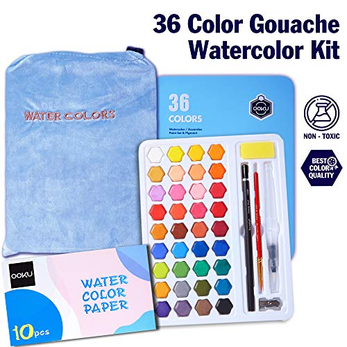 OOKU Professional Gouache Watercolor Set | 36 Colors Acrylic Paint Set for Water Coloring with Watercolor Palette | Artist Watercolor Paint for Students Kids & Adult w/ Brush Pens, Pencils, Pouch Blue