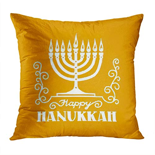 Hanukkah Throw Pillow Cover,Happy Hanukkah Greeting Festive Typographical Inscr,Cushion Cases Shams for Indoor Outdoor Home Decor Living Room Bedroom Office Cotton Pillowcase,18'x18'