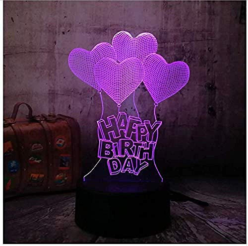 Regalo de cumpleaños 3D LED luz de noche globo de amor decoración del hogar colorida lámpara de mesa multicolor táctil vacaciones regalo creativo brillo