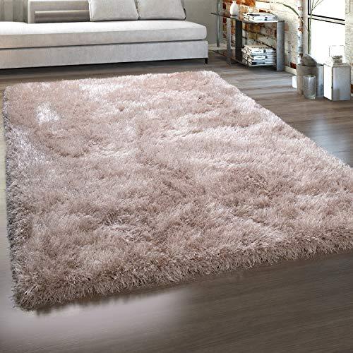 Paco Home Hochflor-Teppich, Shaggy Mit Glanz-Effekt, Einfarbig in versch. Farben u. Größen, Grösse:120x160 cm, Farbe:Beige
