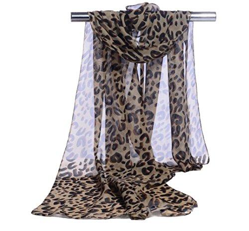 Wicemoon Schal Sonnencreme mit Leopardenprint Seide Chiffon Lang Schals Tücher Damen Umhängetücher Kleidung 160 * 50CM