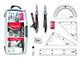 """Maped Study Geometry 10 Piece Set, Includes 2 Metal Study Compasses, 2 Triangles, 6"""" Ruler, 4"""" Protractor, Pencil for Compass, Pencil Sharpener, Eraser, Lead Refill (897010)"""