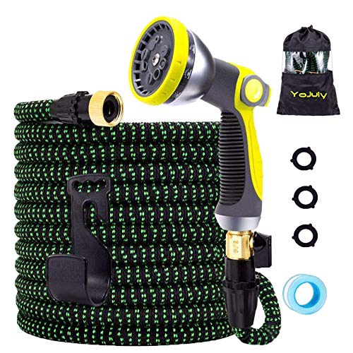 Expandable Garden Hose,100 ft Leakproof Lightweight Garden Water Hose -with 10 Function Spray Nozzle and Durable 3-Layers Latex,Best Choice for Watering and Washing (Green, 100FT)