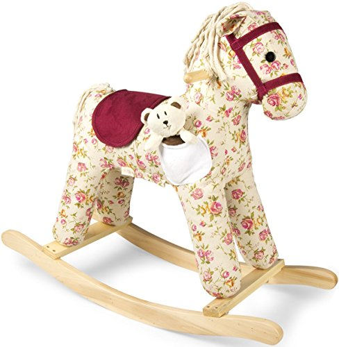 Leomark cavallo a dondolo in legno con suono, animale peluche per bambini stile retrò, vintage colore crema con rose mio florence, cavallino a dondolo bambini, dimensioni: 74,5 cm (L) x 67cm (A)