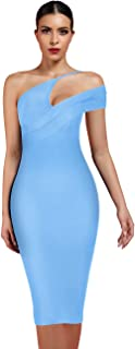 Maketina Women Plunge Neck Sleeveless Cut Out Bodycon Club Party Bandage Dress
