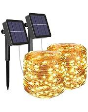 [2 Pack] Litogo Zonne Fairy Lights Buitenshuis, 12m 120 LED Zonne Tuinverlichting 8 Modi Waterdichte koperdraad Decoratieve Solar String Lights voor tuin, terras, poort, tuin, bruiloft, feest (warm wit)