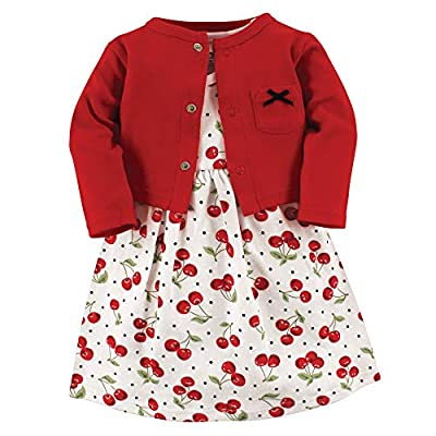 Hudson Baby Baby Girls Cotton Dress and Cardigan Set, Cherries, 9-12 Months