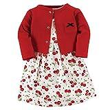 Hudson Baby Baby Girls Cotton Dress and Cardigan Set, Cherries, 3 Toddler
