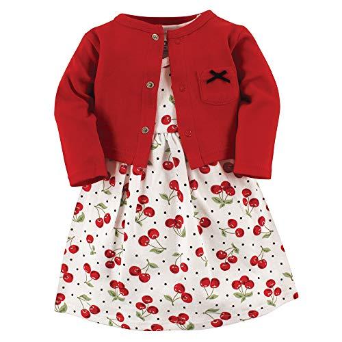 Hudson baby Baby-Mädchen Dress and Cardigan Set Lässiges Kleid, Kirschen, 98