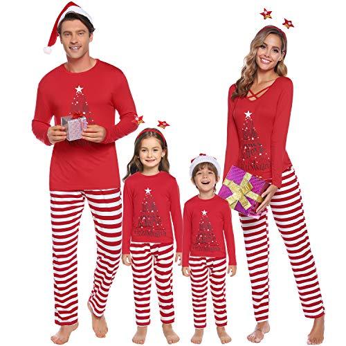 iClosam Pijamas De Navidad Familia Conjunto Pantalon y Top