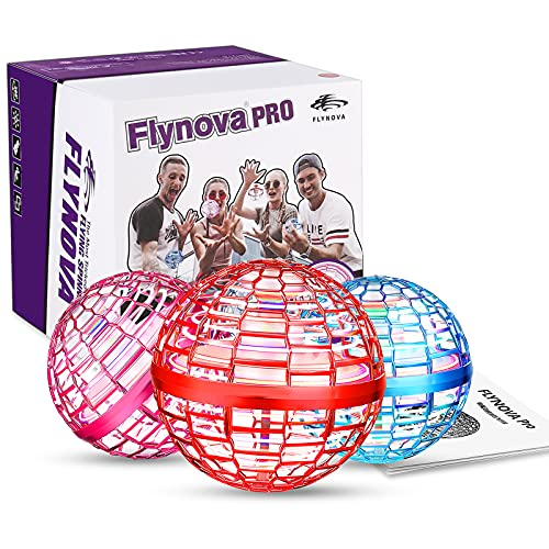 Flynova Pro Flying Orb, Mini Drone Bola Voladora Incorporado RGB LED Spinner 360 ° UFO Giratorio, Mágico Magic Volar Juguetes para Niños Adultos al Aire Libre Interior (Rojo)
