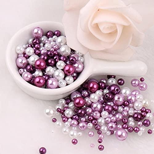 3-8mm Molti colori ABS imitazione Perle Perline rotonde con fori Braccialetto fai da te Orecchini Charms Perline da cucire Collana Creazione di gioielli-Mix viola, 6mm 100 pezzi