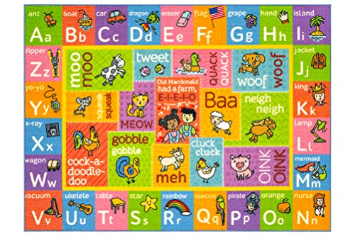 Playtime Collection ABC Alphabet with Old McDonald's Animals Educational Learning Area Rug Carpet for Kids and Children Bedrooms and Playroom - 8' 2' x 9' 10'