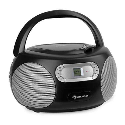 auna Haddaway CD- Minicadena, Reproductor de CD, Conexión Bluetooth, Sintonizador de Radio FM, Entrada AUX, Pantalla LED, Funcionamiento con batería alimentación, Antena telescópica, Negro