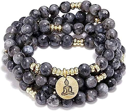 Collar de Moda 108 Cuentas de oración budistas Collar o Pulsera de Yoga Lotus Budista Charm Jewelry Labradorita Muñecas Hombres Mujeres Perímetro 97cm Colgante Collar Niñas Niños Regalo