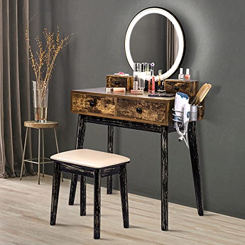 Vanity Table Set with Lighted Mirror and Bench,Rustic Makeup Vanity Bathroom Vanity Desk with Drawers,Bedroom Wood Dressing Table with 3-Color Touch Screen Dimmable Mirror