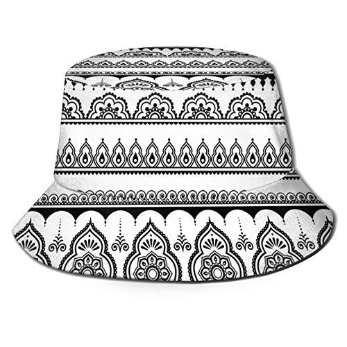 Fisherman Senderismo Sombrero de ala ancha, diseño de tatuaje oriental con varias formas ornamentales y geométricas estilo monocromático