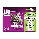 Whiskas Casserole Multipack Bolsitas de Comida Húmeda para Gatos Adultos Selección Mixta (4 cajas x 12 sobres x 85g)