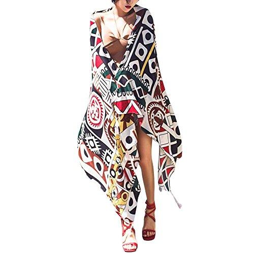 Strandtuch Damen Sommer Pashmina Schal Casual Bikini Cover Up Seidentuch Apparel Aufdruck Strand Geschenke Umhängetuch Poncho Young Fashion (Color : A, Size : One Size)