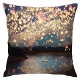 N A Love Wish Lanterns - Funda de almohada decorativa para sofá,...
