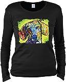 Damen Langarmshirt mit Motiv: Dachshund - Hundemotiv - Geschenk - Pullover, Pulli - Farbe: schwarz