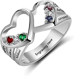 Ashleymade Custom Mothers Rings with 6 Simulated Birthstone Engraved Name Rings for Family Jewelry Gift Personalized Womens Rings