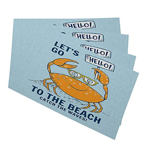 HOSNYE Cute Crab Placemats Table Mats Set of 4 Hello Lets Go to The Beach Catch The Waves Summer Theme Place Mats for Dining Table 12 x 18 Inch Cotton Linen for Home Kitchen