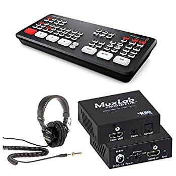 Blackmagic Design ATEM Mini Pro ISO Live Production Switcher - Bundle with Sony MDR-7506 Professional Folding Headphones Muxlab HDMI to HDMI with Audio Extraction 4K/60