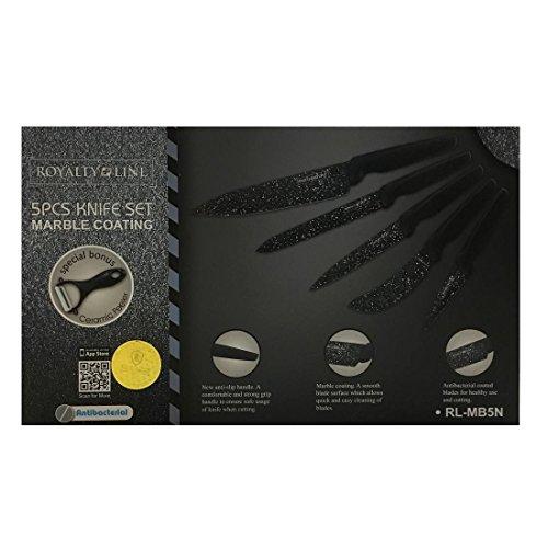 Royalty Line - Set 5pz coltelli da Cucina + pelapatate Rivestito in Ceramica con Manico Scuro - RL-MB5N - Pane, Carne, spilucchino, Pizza, Universale