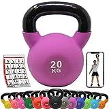 POWRX Kettlebell Neopren 2-26 kg inkl. Workout I Kugelhantel in versch. Farben und Gewichten I Bodenschonende Schwunghantel -