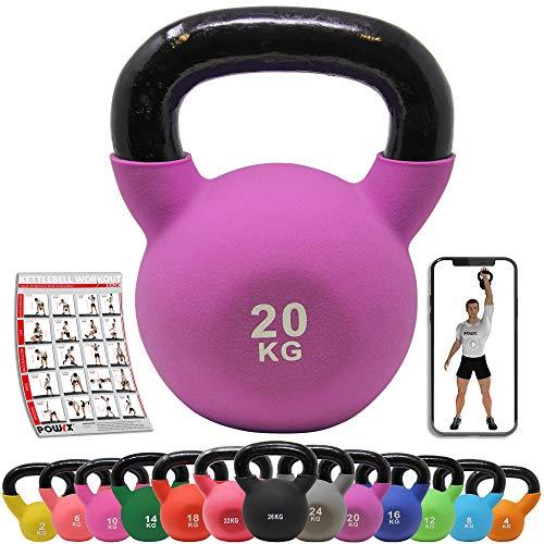POWRX Kettlebell Neopren 2-26 kg inkl. Workout I Kugelhantel in versch. Farben und Gewichten I Bodenschonende Schwunghantel (20 kg (Lila))
