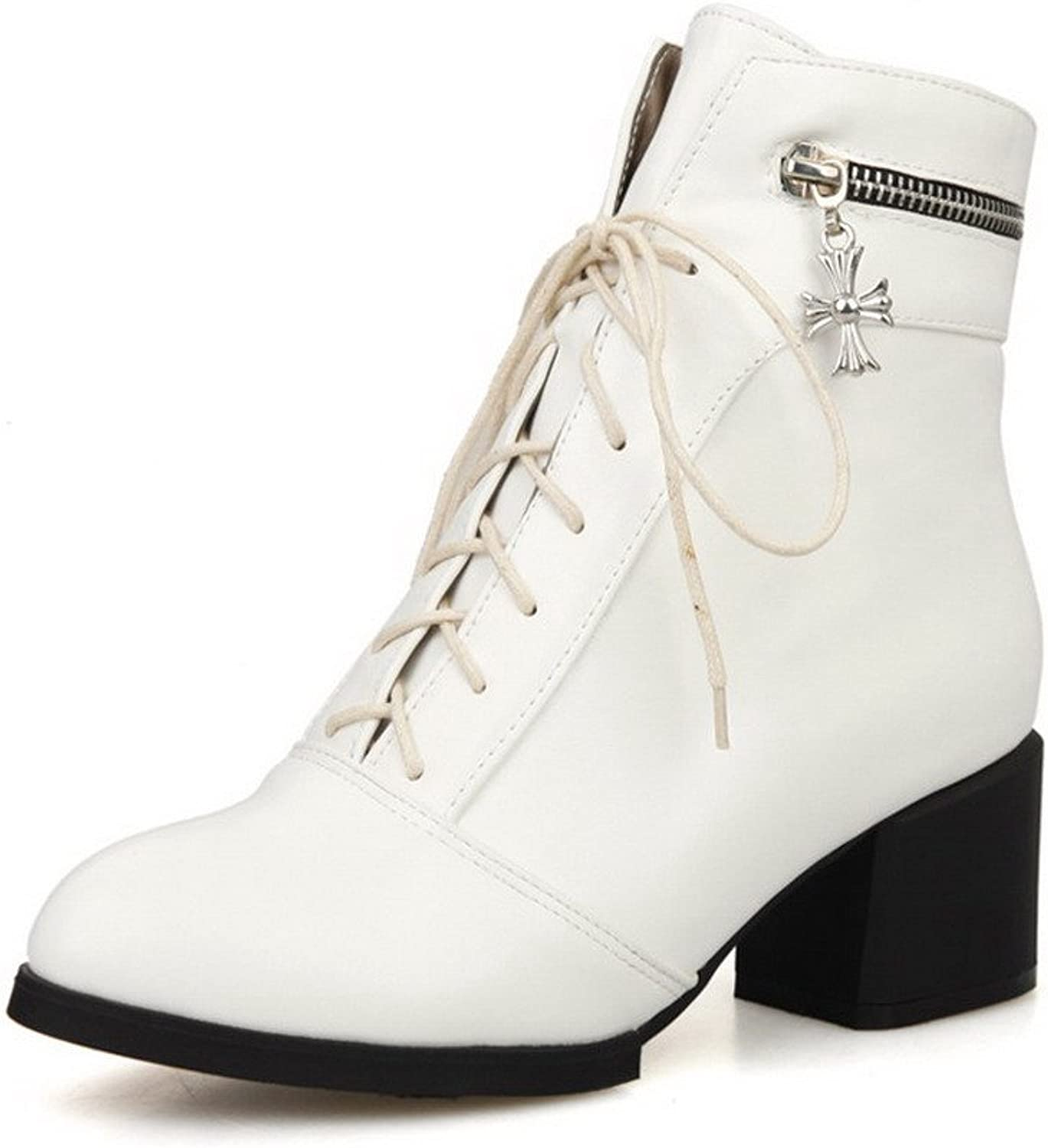 WeiPoot Women's Solid Round Toe Blend Materials PU Low-top Boots