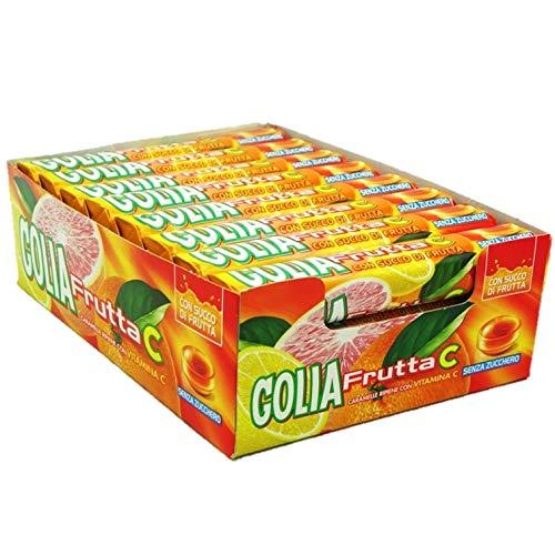 Golia Frutta C Caramelle Ripiene con Succo di Frutta, Gusto Agrumi, Senza Zucchero e Senza Glutine, con Vitamina C, Confezione da 24 Roll
