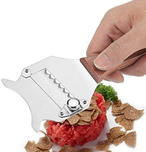 Relaxbx Truffel Slicer/Shaver met Rozenhout Handvat, dunheid Verstelbare RVS Blade Professionele Truffel Slicer Geweldig voor Truffels, Groenten, Knoflook, Chocolade, Mu