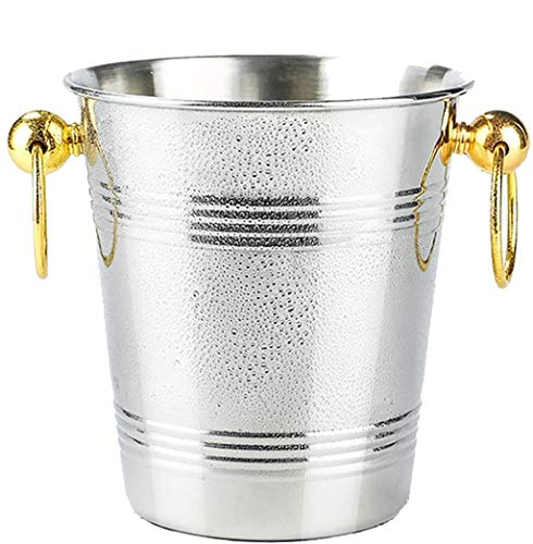 XZHSA Champagne Bucket, Stainless Steel - Ice Bucket - Metal Drink Cooler - House Party - Handles Small Container