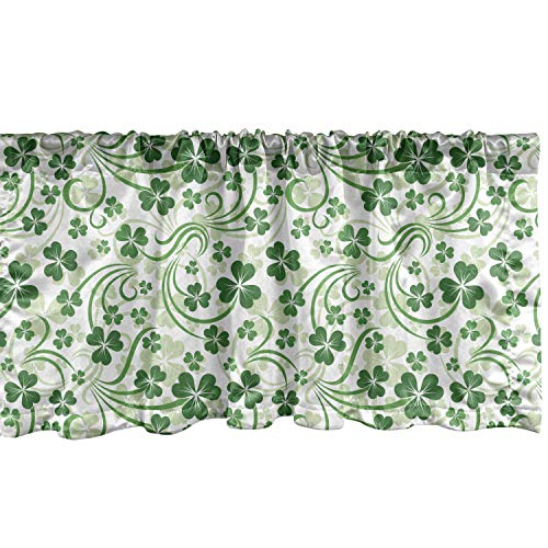 Lunarable Shamrock Window Valance, Lucky Celtic Clovers Swirls Monochrome Irish Design St Patrick's Day, Curtain Valance for Kitchen Bedroom Decor with Rod Pocket, 54' X 18', Emerald Green