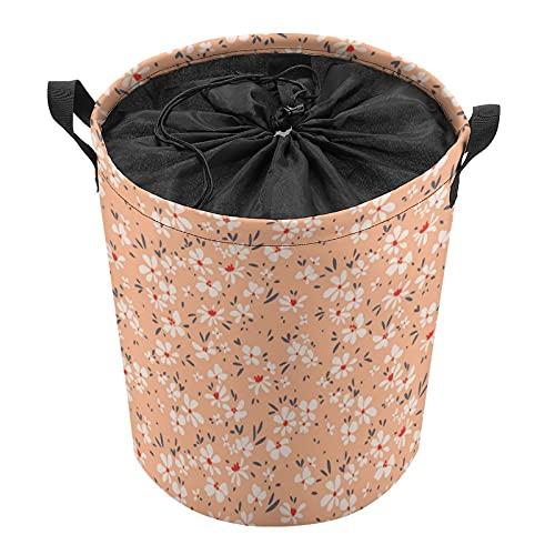 Cubo de almacenamiento impermeable grande organizador ligero cesta para la colada, cubos de juguete, cestas de regalo, ropa sucia, dormitorio de los niños, baño floral naranja