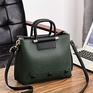 WTYD Single Shoulder Bag Rivet Pattern Leisure Fashion PU Slant Shoulder Bag Handbag(Black) (Color : Green)