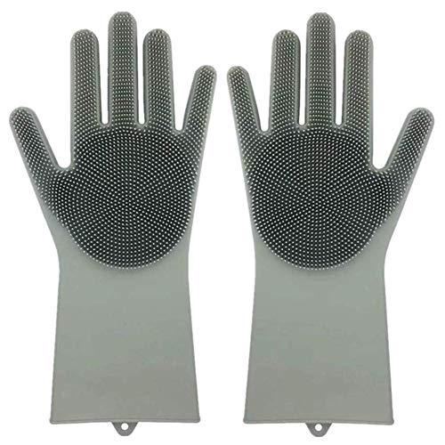 Afwashandschoenen Siliconen Reiniging Herbruikbare Scrub Handschoenen voor Was Vaatwasser, Keuken, Badkamer Grijs