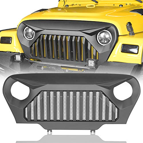 Hooke Road Wrangler TJ Grill Cover Front Vader Grille w/Mesh Inserts compatible with Jeep Wrangler TJ LJ 1997-2006 (Angry Bird Matte Black)