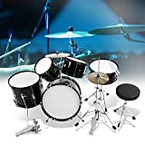 5 Drum Set, Black Kids Junior Drum Kit Stool Drumsticks Pedal Beginners Set