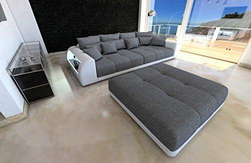 Bigsofa Miami grau - weiss Megasofa mit LED Beleuchtung Big Sofa