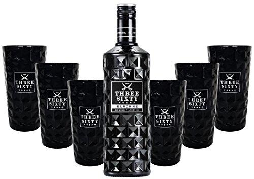 Three Sixty Black 42 Vodka 0,7l 700ml (42% Vol) + 6x Black Longdrink-Gläser eckig schwarz -[Enthält Sulfite]