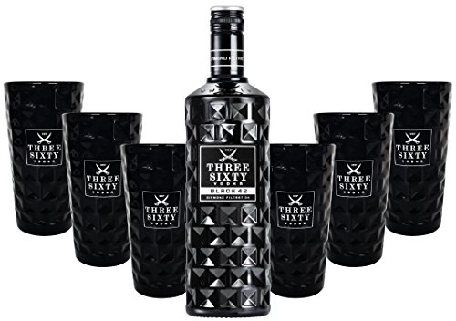 Three Sixty Black 42 Vodka 0,7l 700ml (42% Vol) + 6x Black Longdrink-Gläser schwarz -[Enthält Sulfite]