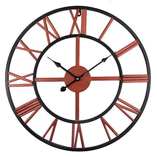 YIHENGRUI hoogwaardige grote wandklok metaal industrieel Iron Gear retro klok horloge 3D 45 cm zwart en rood.
