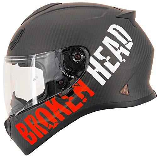 Broken Head BeProud Carbon Ltd. - Leichter Racing Motorradhelm & Integralhelm - Matt-Schwarz & Rot - M (57-58 cm)