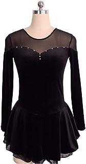 カスタマイズされた子供の大人のフィギュアスケートのドレスの女の子は服の競争テストスカートベルベットを示します,black,AdultsSize:S