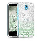 kwmobile HTC Desire 526G Hülle - Handyhülle für HTC Desire 526G - Handy Case in Indische Sonne Design Mintgrün Weiß Transparent
